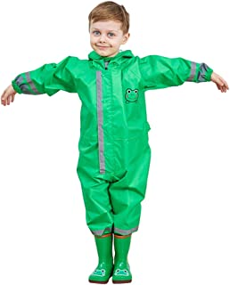 LO HOME Kids Raincoat Girl Boy 3D Cartoon Waterproof Kids Poncho One-Piece Rain Suit with Transparent Hood and Reflective Strip (L: (Fit 3.77-4.43 ft Height), Green)