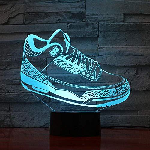 Zapatos Baloncesto Luz nocturna Led 3D Ilusión Sensor táctil Niños Niños Regalos Lámpara de mesa Dormitorio Zapatillas 16 colores