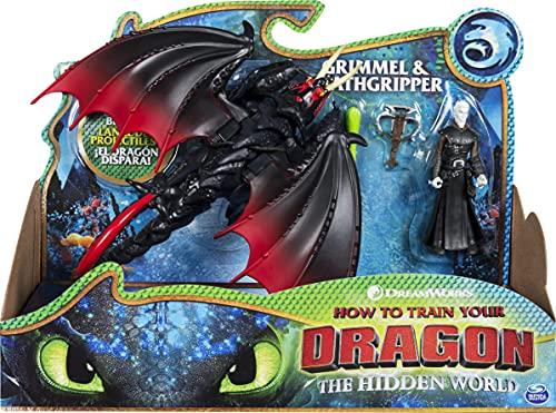 Dragons 6052276 Movie Line - Dragon & Vikings - Deathgripper und Grimmel (Solid), Actionfiguren Drache & Wikinger, Drachenzähmen leicht gemacht 3, Die geheime Welt