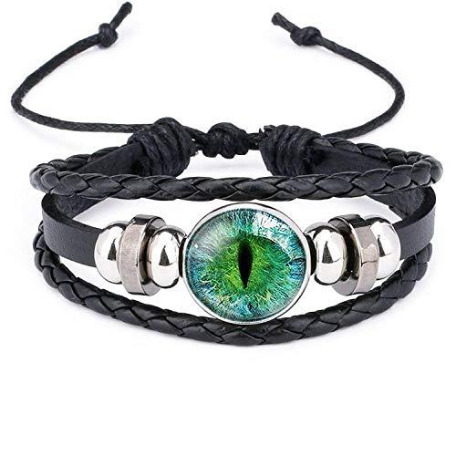 Ojos de gato, ojos de dinosaurio, pupilas de gato, piedras preciosas, pulsera de cuero hecha a mano, pulsera-12012102