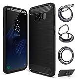 【スマホリングスタンド付】【GTO】 Samsung Galaxy s8 ケース カバー 炭素繊維 TPU シリコン……