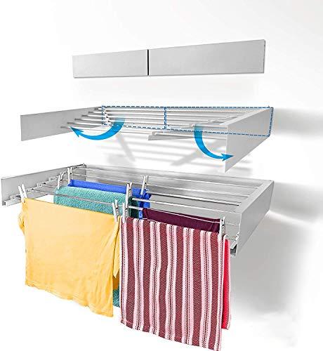 DIYofHome Stendibiancheria da parete in alluminio di alta qualità, per montaggio a parete, per interni ed esterni, balcone, terrazza, pieghevole, salvaspazio, bianco