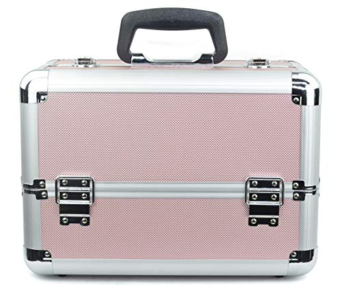 Reme Makeup Train Case Cosmetic Organizer with 4 Trays for Makeup Artist,14 Inch Large,Pink