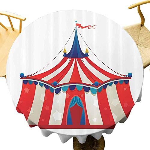 Circus Decor Multi-patrón redondo mantel colorido rayas circo carpa carpa con estrellas bandera carnaval rendimiento ilustración protección mesa diámetro 39 pulgadas