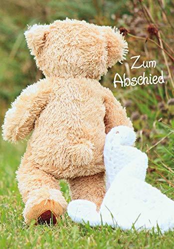 Abschiedskarte Basic Classic - Teddy mit Decke - 11,6 x 16,6 cm
