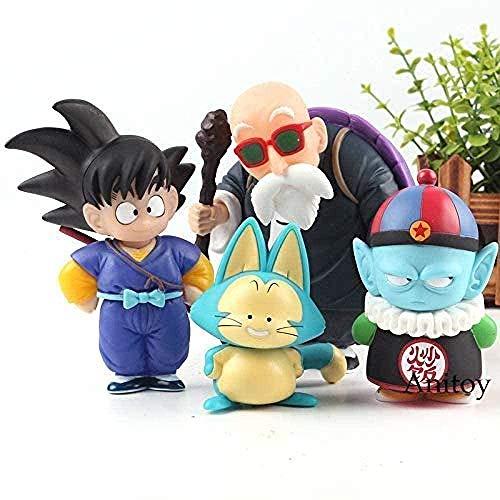 cheaaff Estatuilla Dragon Ball Son Goku Gohan Uranai Baba Maestro Roshi Puar Pilaf Chiaotzu PVC Anime Figura Anime Figurine 4 Unids/Set A-Second
