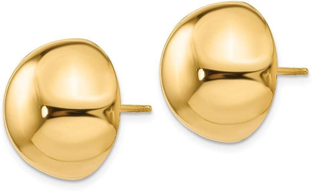 14k Yellow Gold 16MM Half Ball Post Earrings