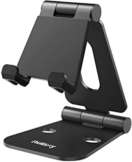"Nulaxy Tablet Stand, Adjustable Phone Holder Stand, Aluminum Tablet Holder Compatible with Smartphones/Tablets/Switch 4-12"" (Black)"