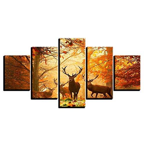 LWJPD Cuadro en Lienzo 5 Partes Lienzo HD Impresiones Cuadro De Arte De Pared Otoño Bosque Animal Ciervo Pintura Sala De Estar Hogar Cartel Modular Sin Marco 60 Inch
