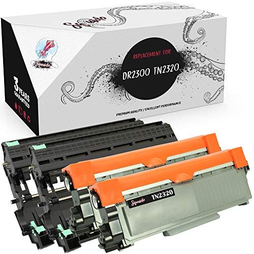 Squuido Tambor DR-2300 + 2 Cartuchos de tóner TN-2320 compatibles para Brother HL-L2300D HL-L2340DW HL-L2360DN HL-L2365DW DCP-L2500D DCP-L2520DW DCP-L2540DN MFC-L2700DW L2720DW | 12000/2600 páginas