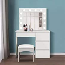 Dimmable LED Dressing Table with Illuminated Mirror, Dressing Table with Four Drawers, White Dressing Table Bedroom Furniture
