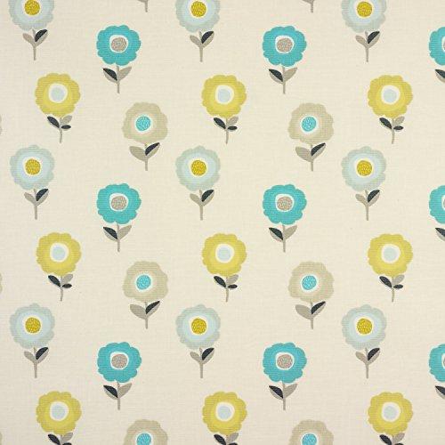 Eend Ei en Taupe Blommig Scandinavische Retro Bloemen Matte Finish Oliedoek Veeg schoon tafelkleed Rond Vierkant of Rechthoek Rectangle 134 x 200cm (53