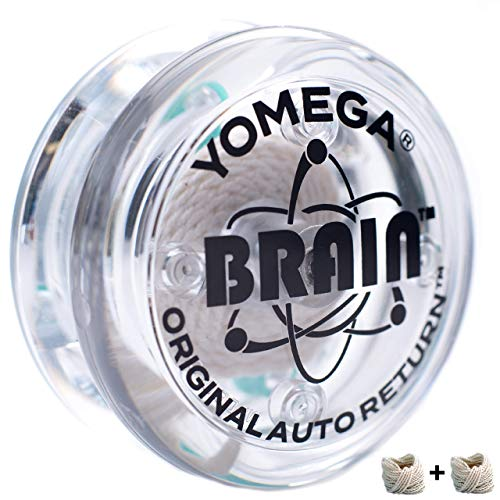 Yomega The Original Brain - Professional Yoyo For Kids And Beginners, Responsive Auto Return Yo Yo Best For String Tricks + Extra 2 Strings & 3 Month Warranty (clear)