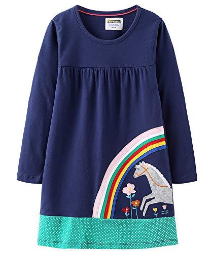 Fiream Toddler Girls Cotton Longsleeve Casual Dresses Applique Cartoon, s0247, 3T