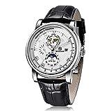 wasserdichte Automatikuhr für Herren - BERSIGAR Automatic Mechanical Watches Wasserdichtes Armband aus echtem Leder Elegante Armbanduhren für Herren