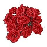 Winomo Rouge-Tetes de Rose artificielle Rose Lot de 20 boutons de fleurs