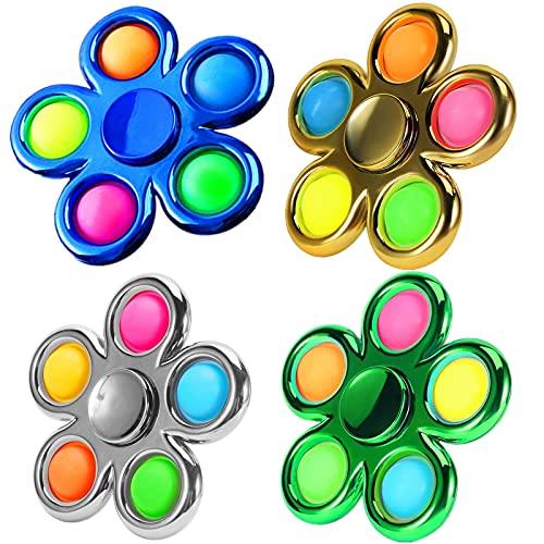 FOYOCER Bubble Pop Hand Spinner Jouets Simple Popper Dimple Fidget Spinner Aspect Métal Jouet Anti Stress pour Enfants Et Adultes (Bleu+Or+Argent+Vert)