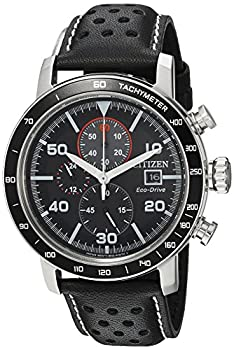 Citizen Eco-Drive Brycen Chronograph Mens Watch Stainless Steel with Leather strap Weekender Black  Model  CA0649-14E