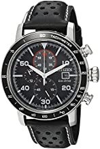 Citizen Eco-Drive Brycen Chronograph Mens Watch, Stainless Steel with Leather strap, Weekender, Black (Model: CA0649-14E)