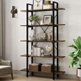 5 Tier Bookshelf -Yoleo Vintage Industrial Bookshelf, 5 Shelf Etagere Bookshelves and bookcases with Metal Frame & Wood, Home Office Storage Book Shelf Walnut Brown