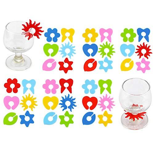 Silikon Glasmarker Teebeutel Clip 24 Stück Wiederverwendbare Glasmarkierer Silikon Weinglas Anhänger Charms Getränk Marker Glasmarkierung Weinglas Markierung Blütenblatt Für Party Tassen Becher Marker