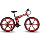 DRAKE18 Bicicleta de montaña Plegable, 26 Pulgadas, 27 velocidades, Velocidad Variable, Todoterreno, Doble amortiguación, Doble Disco, Frenos, Bicicleta para Hombres, Montar al Aire Libre, Adulto,Red