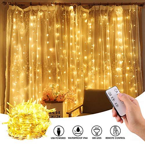 LED Lichtervorhang, mimoday 3m x 3m 300 LED Lichterkette Vorhang Warmweiß mit 8 Modi für Innen Außen Fenster Geburtstag Party Hochzeit Weihnachtsdekoration
