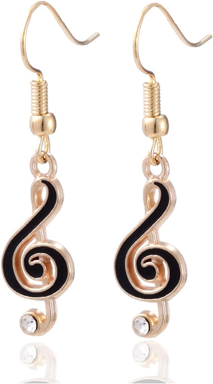 Fusamk Fashion Alloy Music Note Dangle Drop Earrings