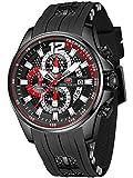 Sport Military Watches for Men Waterproof Chronograph Luminous Date Analog Quartz Watch Genuine Silicon Strap Fashion Business Wrist Watches Clock (Black Black)