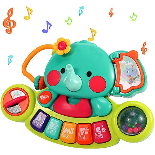 Redify Toddlers Electronic Early Education Piano, Elephant Musical Keyboard Toy with Sounds & Light Up Toy, Baby Kids Multifunctional Music Activity Center Gift