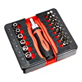 Amazon Basics Juego de destornillador y llave de carraca, magnético, 23 piezas