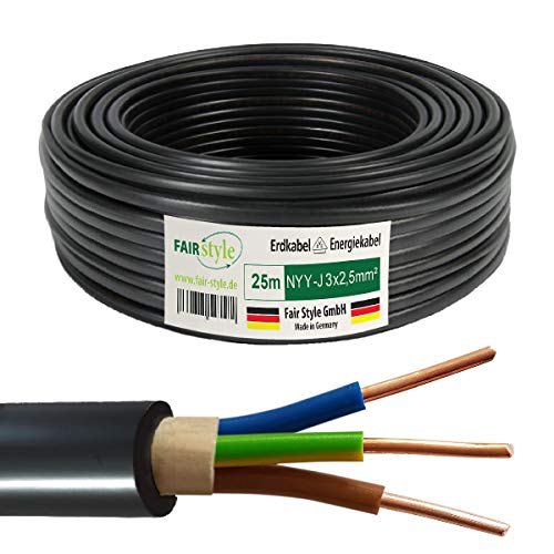 Fair Style 25m NYY-J 3x2,5 mm² Erdkabel Elektro Strom Kabel Kupfer eindrähtig Made in Germany