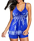 Zando Two Piece Swimsuit for Women Plus Size Bathing Suits for Women Tummy Control Swimming Suit Tankini Tops for Women Vintage Swimwear Swimsuits for Women Royal Blue Floral Print 12-14