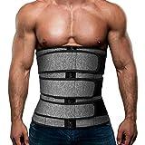 Mens Workout Waist Trainer Neoprene Corset Sauna Sweat Trimmer Cincher Slimming Belly with Belts (Grey Waist Trainer Belt, XL)