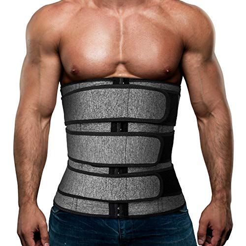 Mens Workout Waist Trainer Neoprene Corset Sauna Sweat Trimmer Cincher Slimming Belly with Belts (Grey Waist Trainer Belt, L)