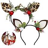 E-More - Paquete de 2 diademas navideñas de reno, orejas de asta de animales con plumas, piñas, bayas, tocado para mujeres y niñas, diadema para celebración navideña, disfraz, cosplay
