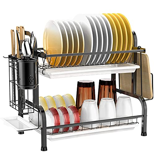 Impetus 水切りラック 2段式 304ステンレス製 大容量 食器 水切りかご 箸立て 包丁スタンド まな板立て 組み立て簡単 日本企業販売 (ブラック)