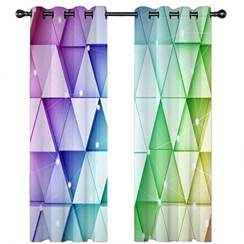 AMDXD Cortina Poliester Cocina, Cortinas Ventanas Dormitorio 3D Patrón de Triángulo Cortinas Decorativas (2 Paneles, Verde Púrpura, Tamaños 214x244CM)