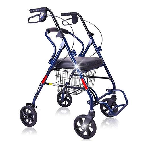 YXB Deambulatore Pieghevole a 4 Ruote Leggero/Carrello della Spesa per Anziani Carrello con Ruote, Sedile Pieghevole per Sedia a rotelle a Spinta per Acquistare Cibo, per Anziani a Piedi