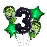 Xx101 Globo 5 unids/Lote Hulk Hombre Hombre Hombre Foil Balloons Superhéroe Inflable Cabeza Globo Fiesta de cumpleaños Decoración de los niños Juguetes Globo (Color : Hulk Set 3)