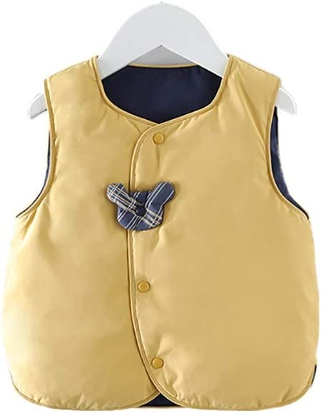 Baby Down Vest Lightweight Plaid Quilted Vest Cute Winter Outwear Padded Outfit Winter Warm Waistcoat Vest (Color : Yellow, Size : Large)