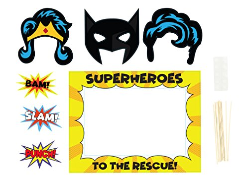 Comic Book Hero Themed Photo Booth Props and Picture Frame for Birthdays (9 Pack)
