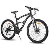 Hiland 26 Inch Mountain Bike for Men 21-Speed MTB Bicycle 18 Inch Dual-Suspension Urban Commuter City Bicycle Black