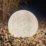 LED Stein Garten Außenleuchte Granit-Optik Ø20cm IP65 inkl. LED-Lampe mit Sensor warmweiß 5m Anschlusskabel