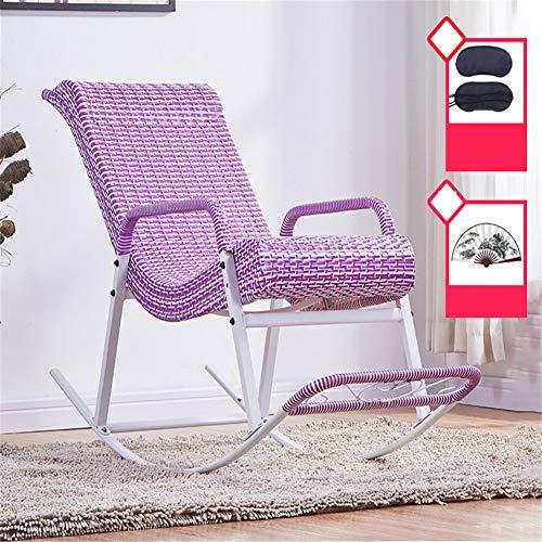 Schommelbank, Rocking rieten stoel, met gebogen kussens en comfortabele armleuningen Rattan Rocking Chair, Verdikte Steel Pipe Beugel, voor Garden Outdoor Camping,Purple