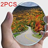 yusheng 2PCS Non-adjustable Large Stick-on Convex Blind Spot Mirror,3.75' HD Glass Big Round Convex Rear View Mirror,Strong Adhesive Mirror for Car, Van, SUV and Trucks (3-3/4'(95mm), Frameless)