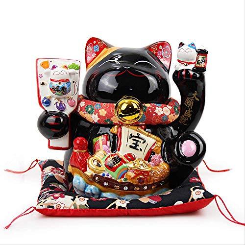 GIAO Figurki ornamenty figurki dekoracja 10 cali ceramika życzenia czarna świnka skarbonka szczęśliwy kot do domu otwarcie sklepu wysyłka ornamenty