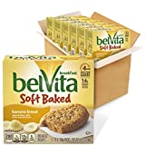 Six boxes with 5 packs each (1 biscuit per pack), 30 total packs, of belVita Soft Baked Breakfast Biscuits, Banana Bread Flavor Banana bread flavored soft biscuits made with whole grains Specially baked to release up to 4 hours of nutritious steady e...