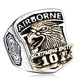 LOPEZ KENT Anillo de acero de la vendimia US Army Hombres de acero /Águila con oval piedra de la CZ