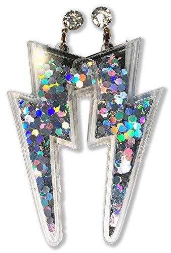 Lightning Bolt Earrings w/Glitter Sparkle Sequins Inside